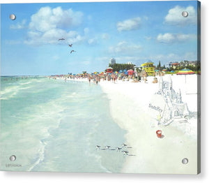 Siesta Key Public Beach With Sandcastle - Acrylic Print