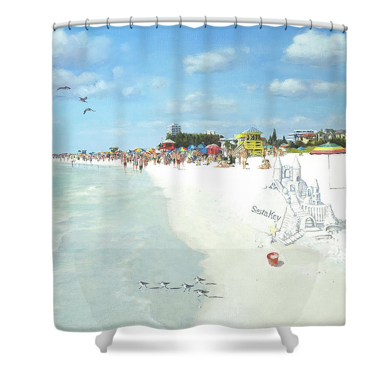 Siesta Key Public Beach With Sandcastle - Shower Curtain