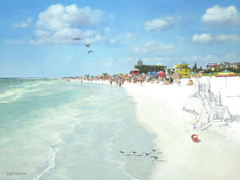 Siesta Key Public Beach With Sandcastle - Art Print