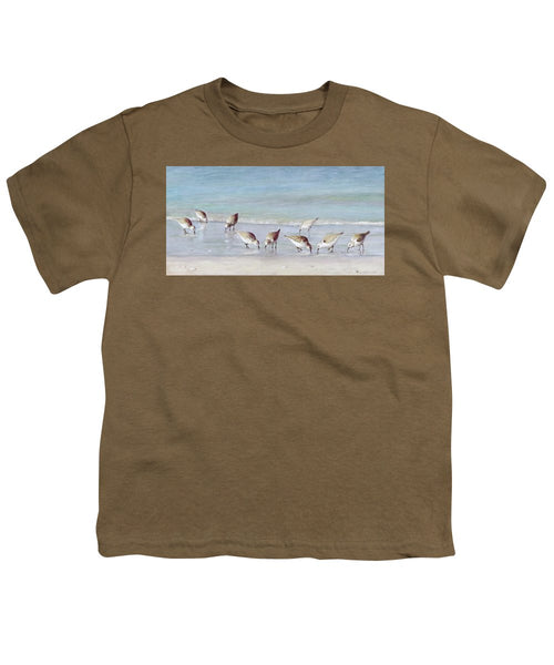 Breakfast On The Beach, Snowy Plover Sandpipers, Siesta Key - Youth T-Shirt