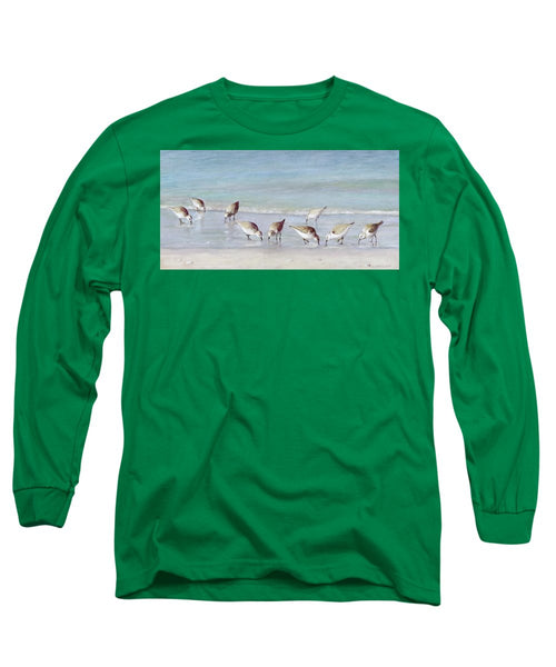 Breakfast On The Beach, Snowy Plover Sandpipers, Siesta Key - Long Sleeve T-Shirt