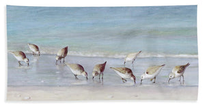 Breakfast On The Beach, Snowy Plover Sandpipers, Siesta Key - Bath Towel