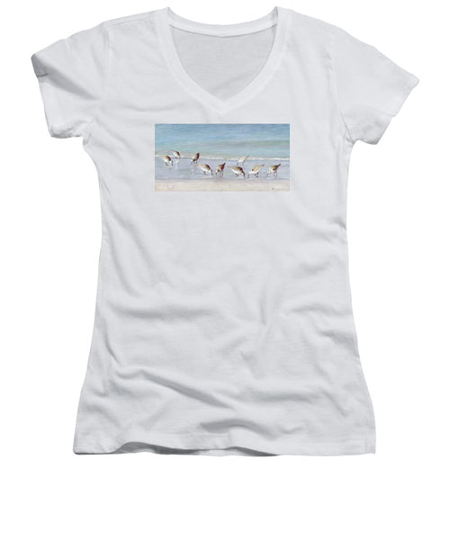 Breakfast On The Beach, Snowy Plover Sandpipers, Siesta Key - Women's V-Neck (Athletic Fit)