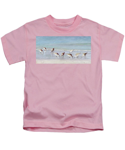 Breakfast On The Beach, Snowy Plover Sandpipers, Siesta Key - Kids T-Shirt