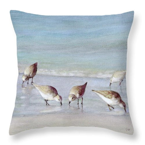Breakfast On The Beach, Snowy Plover Sandpipers, Siesta Key - Throw Pillow