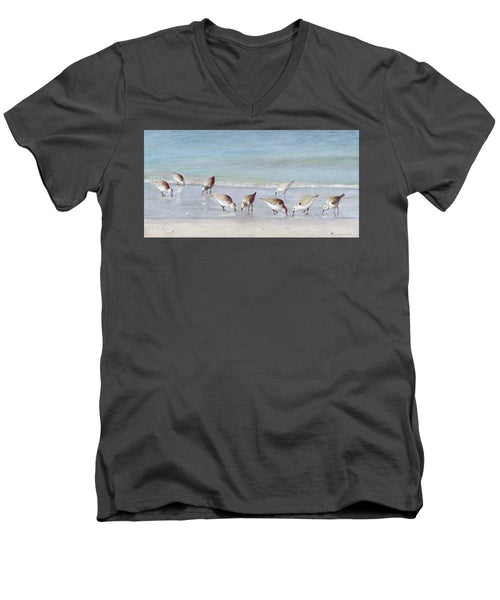 Breakfast On The Beach, Snowy Plover Sandpipers, Siesta Key - Men's V-Neck T-Shirt