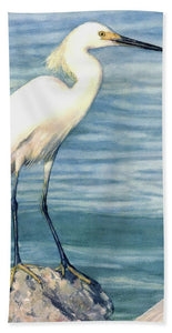 Snowy White Egret On Siesta Key - Bath Towel