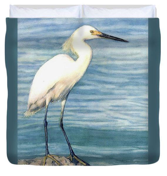 Snowy White Egret On Siesta Key - Duvet Cover
