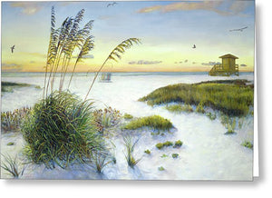 Sunset And Sea Oats At Siesta Key Public Beach - Greeting Card