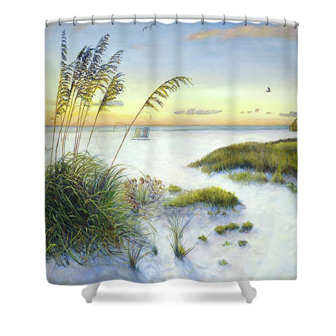 Sunset And Sea Oats At Siesta Key Public Beach - Shower Curtain