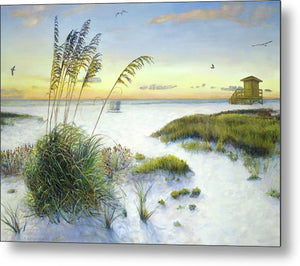 Sunset And Sea Oats At Siesta Key Public Beach - Metal Print