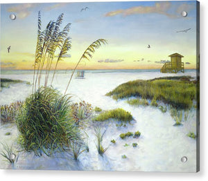 Sunset And Sea Oats At Siesta Key Public Beach - Acrylic Print