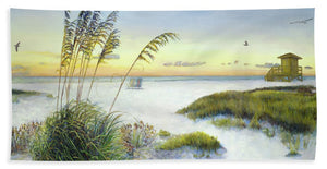 Sunset And Sea Oats At Siesta Key Public Beach - Beach Towel