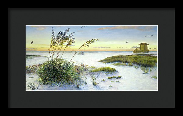 Sunset And Sea Oats At Siesta Key Public Beach -wide - Framed Print