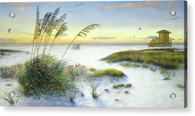 Sunset And Sea Oats At Siesta Key Public Beach -wide - Acrylic Print