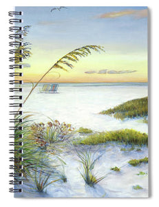 Sunset And Sea Oats At Siesta Key Public Beach -wide - Spiral Notebook