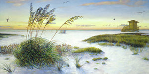 Sunset And Sea Oats At Siesta Key Public Beach -wide - Art Print