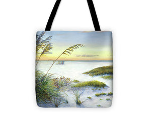 Sunset And Sea Oats At Siesta Key Public Beach -wide - Tote Bag