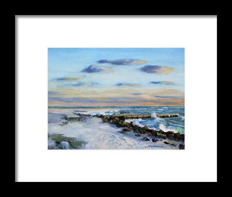 Sunset Beach Pier At Dusk, Access 2, Siesta Key  - Framed Print