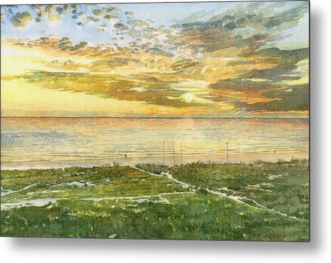 Sunset On Hobie Cat Beach, Siesta Key, Access 8 - Metal Print