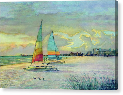 Sunset On Crescent Beach With Hobie Cats, Siesta Key - Canvas Print