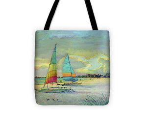 Sunset On Crescent Beach With Hobie Cats, Siesta Key - Tote Bag