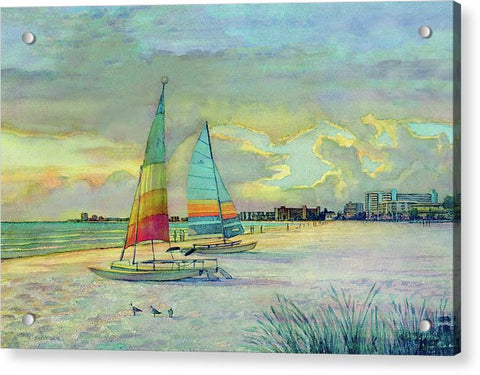 Sunset On Crescent Beach With Hobie Cats, Siesta Key - Acrylic Print