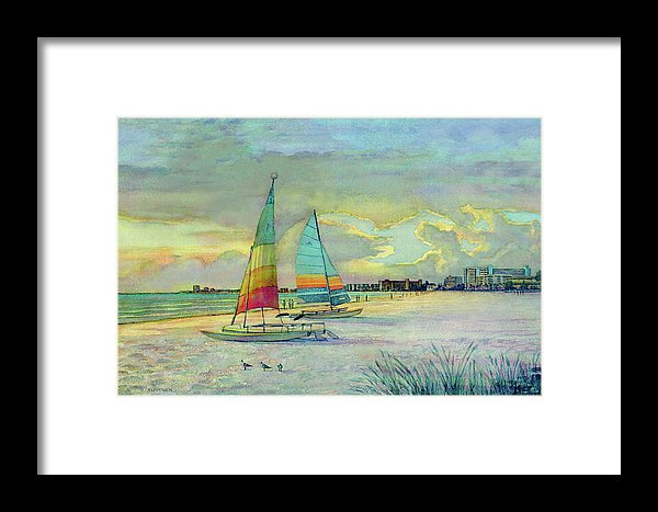Sunset On Crescent Beach With Hobie Cats, Siesta Key - Framed Print