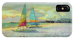 Sunset On Crescent Beach With Hobie Cats, Siesta Key - Phone Case