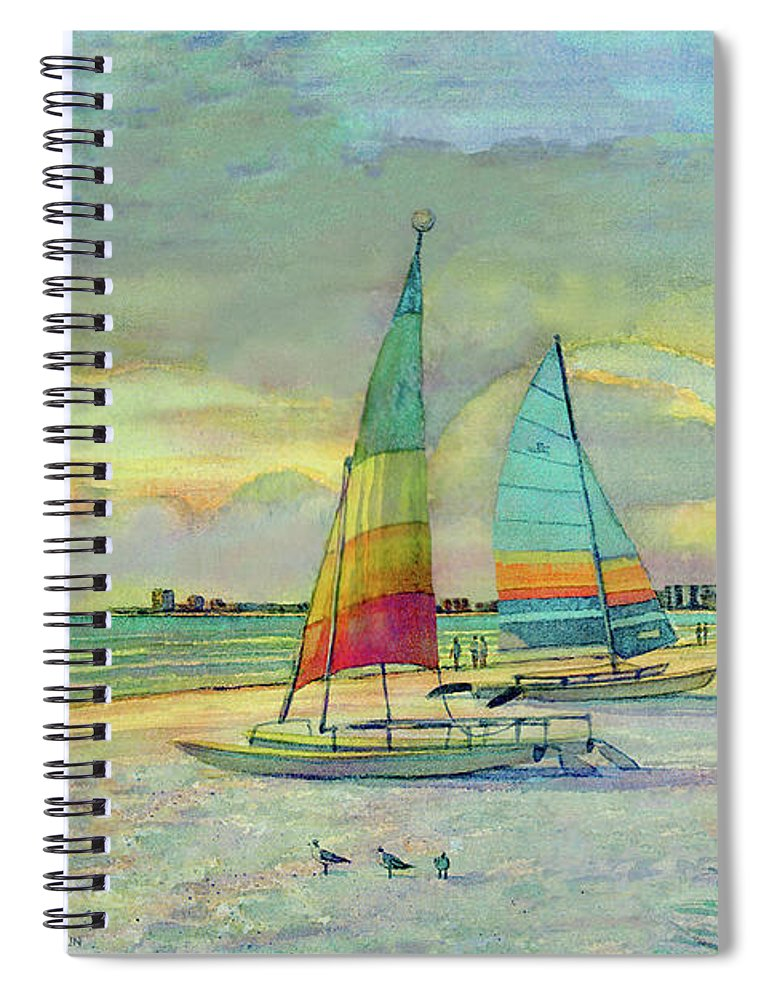 Sunset On Crescent Beach With Hobie Cats, Siesta Key - Spiral Notebook