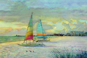 Sunset On Crescent Beach With Hobie Cats, Siesta Key - Art Print