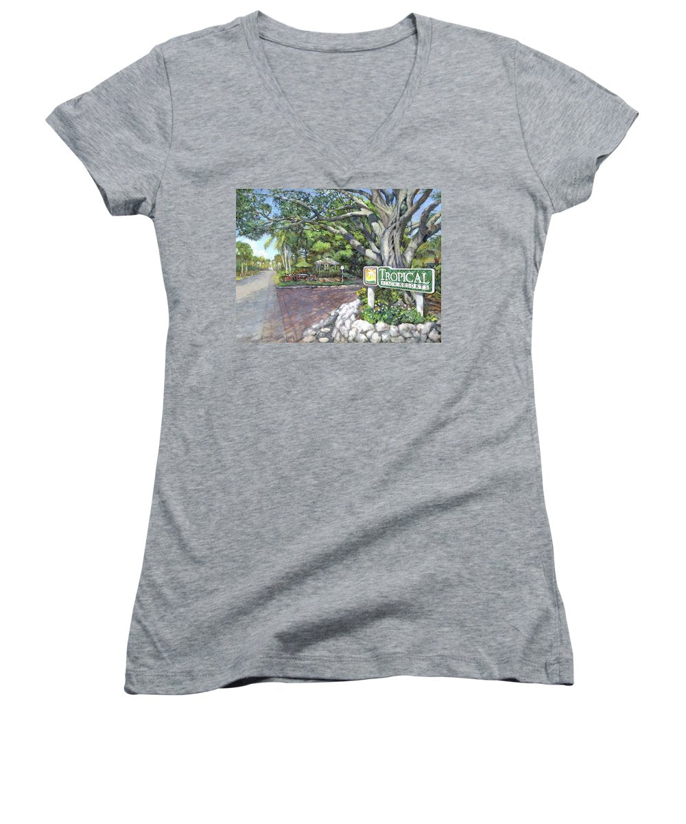 Tropical Beach Resorts - Women's V-Neck (Athletic Fit)