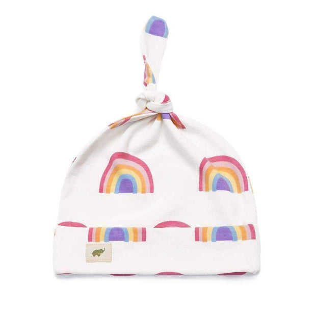 Monica + Andy Newborn Top Knot Cap Hat in White with Multicolored Rainbow Design