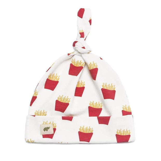 Monica + Andy Newborn Top Knot Cap Hat in White with Red and Yellow French Fry Pattern