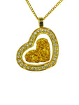 Gold Glass Pendant Diamente Heart Offset