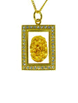 Gold Pendant Diamente Rectangle