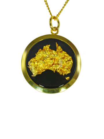 Gold Large Round Australia Map