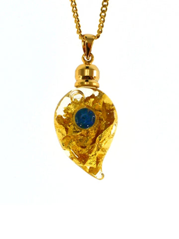 Glass Gold Leaf Pendant With Opal