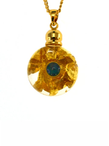 Glass Gold Oblate Pendant With Opal