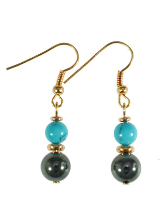 Iron Ore with Blue Bead Earrings