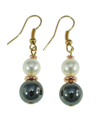 Iron Ore with White Bead Earrings