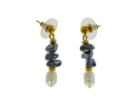 Freshwater Pearl Earrings with Iron Ore chips
