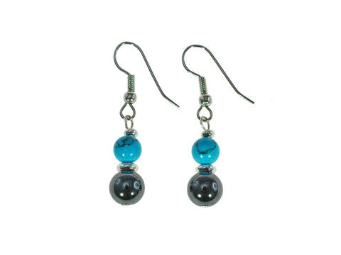 Iron Ore Turquoise Earring