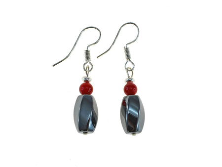 Iron Ore Twist Red Earring