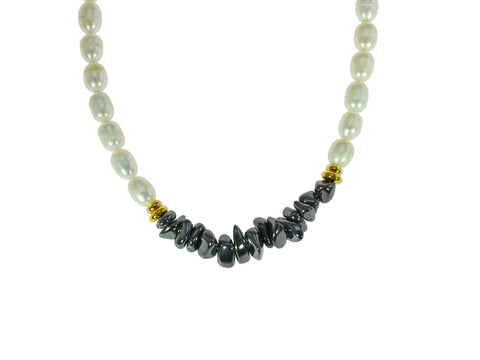 Freshwater Pearl Necklace with Iron Ore chips