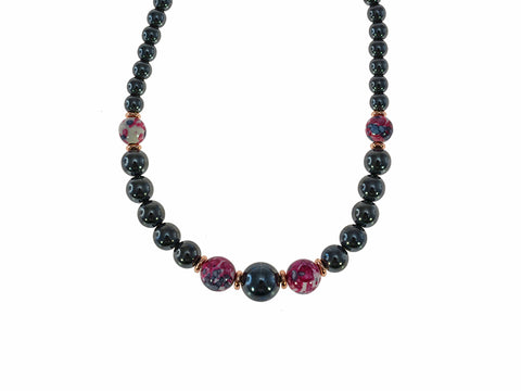 Iron Ore with Plum Beads Necklace