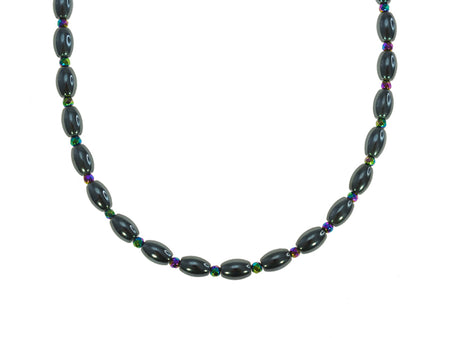 Iron Ore Large Rice Bead Necklace