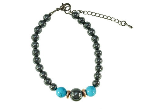 Iron Ore Bracelet with Blue Beads