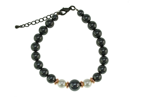 Iron Ore with Pearl Bracelet
