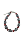 Iron Ore Twist Bracelet with Red Beads